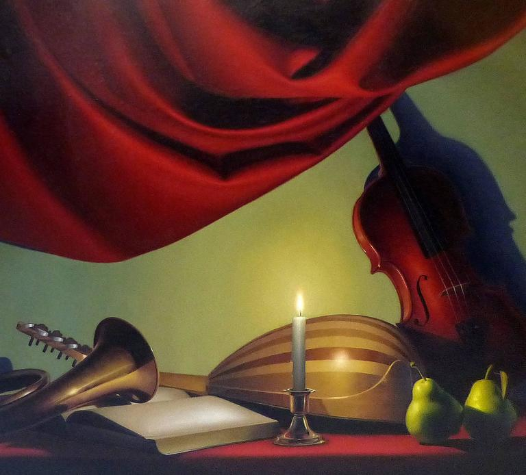 A still life composition executed in a realist medium by noted Argentine Artist Nicolas Fasolino signed lower right and dated '05. This oil on canvas depicts a candle-lit table with various musical instruments including a cello, a mandolin, a