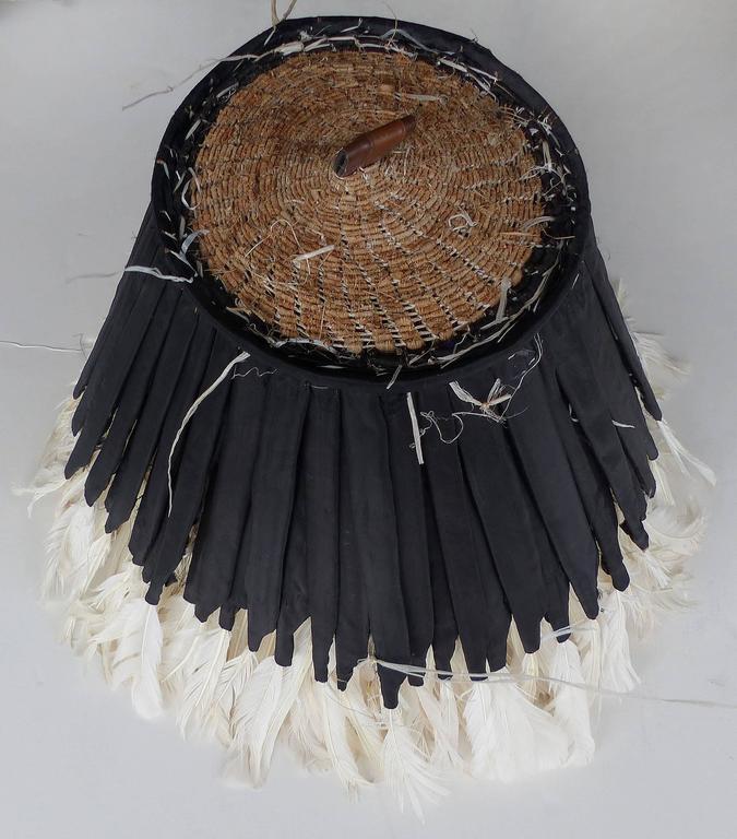 African bamileke tribe white juju feather hat hanging at 1stdibs
