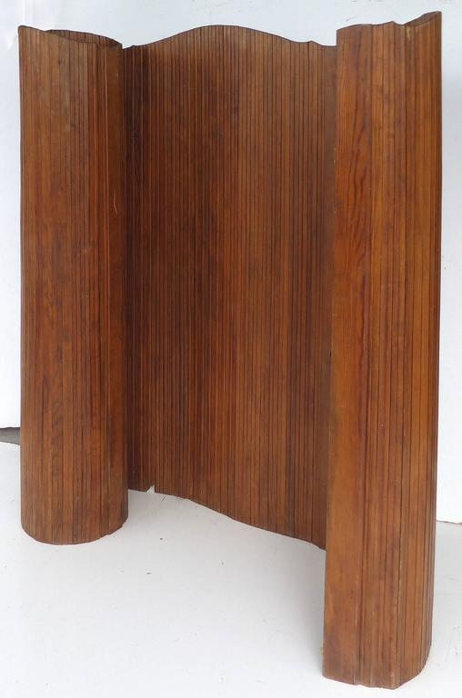 Turn Of The Century Antique Tambour Curved Wood Screen At