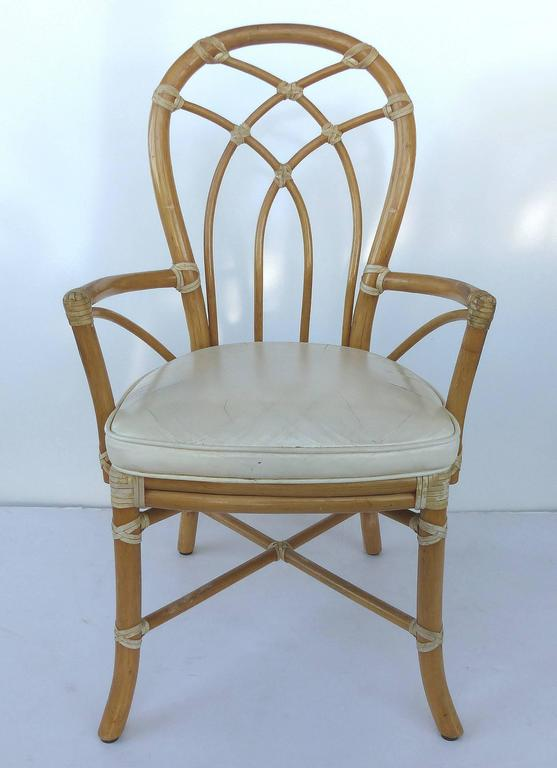 Mid 20th century set of six rattan dining chairs by for Mid 20th century furniture