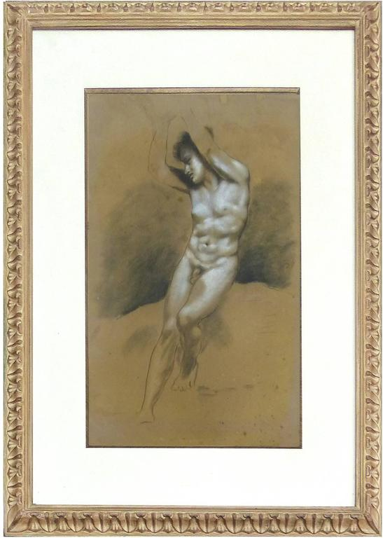This is a pair of charcoal and white pastel drawings of male nude figures. The works are well done and elegantly presented in lightly gilt carved egg and dart wood frames with deep museum mats under glass. These drawings are attributed to the French