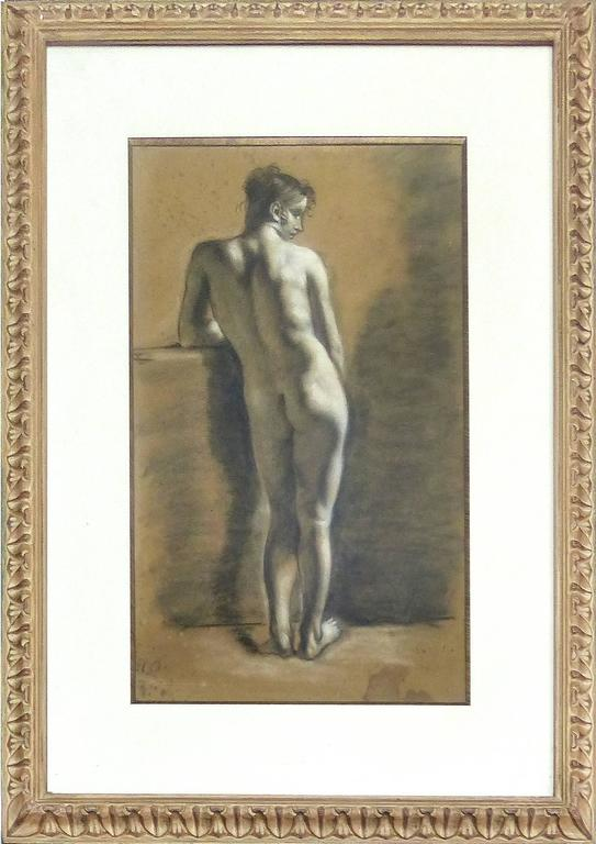 Rococo Pair of Drawings of Male Nude Figures attributed to Francois Boucher, circa 1750 For Sale