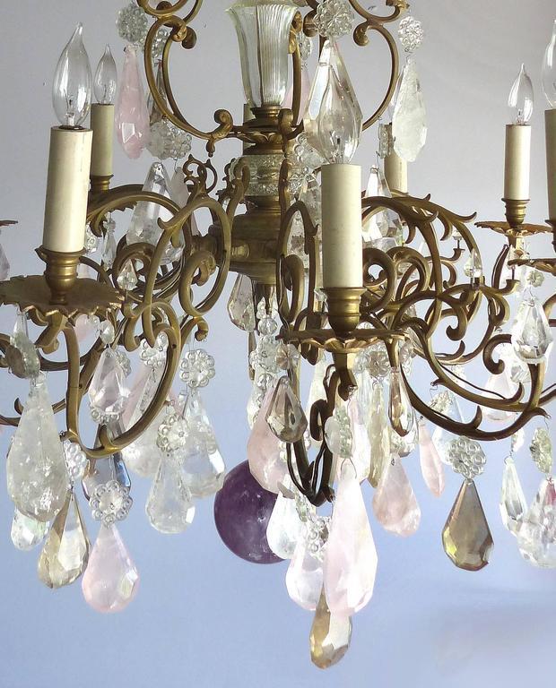 Th Century French Amethyst Quartz Rock Crystal And Rose Quart - Quartz chandelier crystals