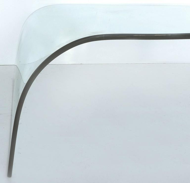 Modern Bent Glass Waterfall Coffee Table 4