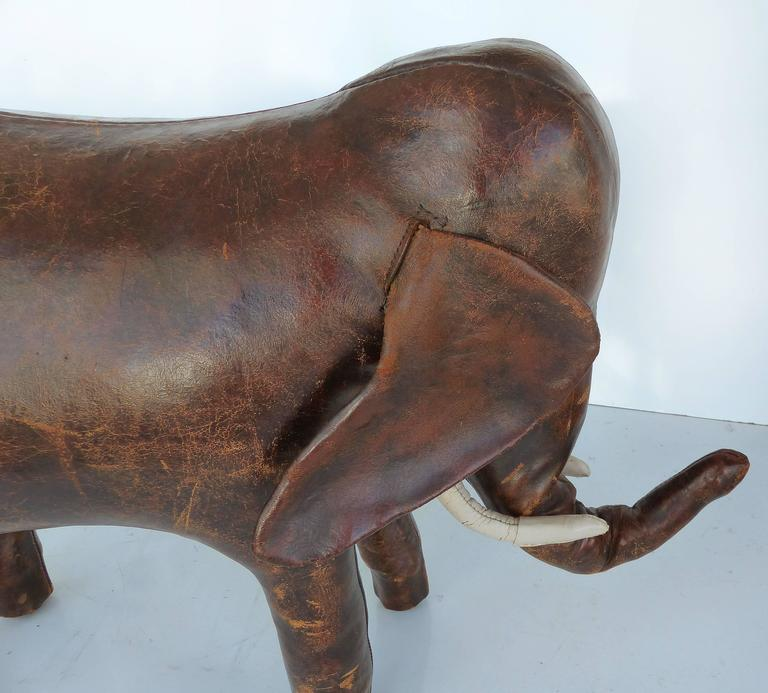 English Overscale 1950s Dimitri Omasar of Abercrombie & Fitch Leather Elephant Footstool For Sale