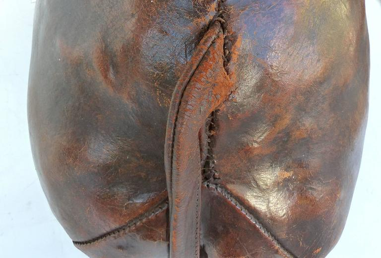 Overscale 1950s Dimitri Omasar of Abercrombie & Fitch Leather Elephant Footstool In Good Condition For Sale In Miami, FL