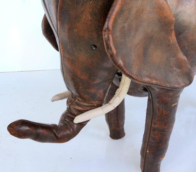 Mid-20th Century Overscale 1950s Dimitri Omasar of Abercrombie & Fitch Leather Elephant Footstool For Sale