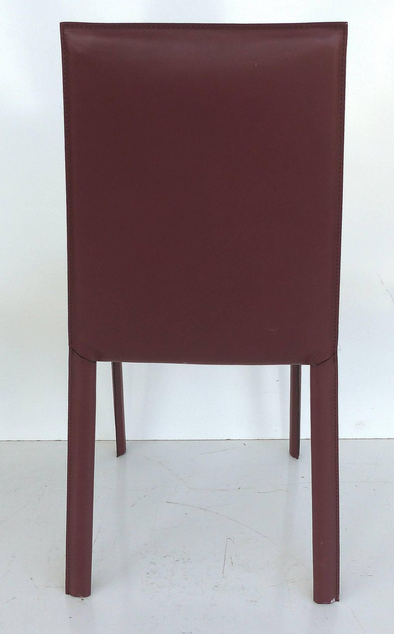 Late 20th Century Arrben of Italy Leather Clad High Back Salinas Two Dining Chairs, Set of Six For Sale