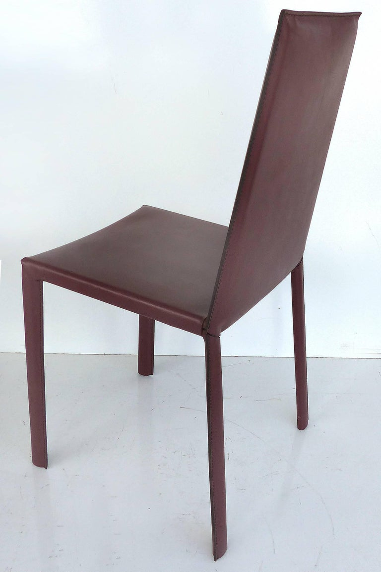Arrben of Italy Leather Clad High Back Salinas Two Dining Chairs, Set of Six In Good Condition For Sale In Miami, FL