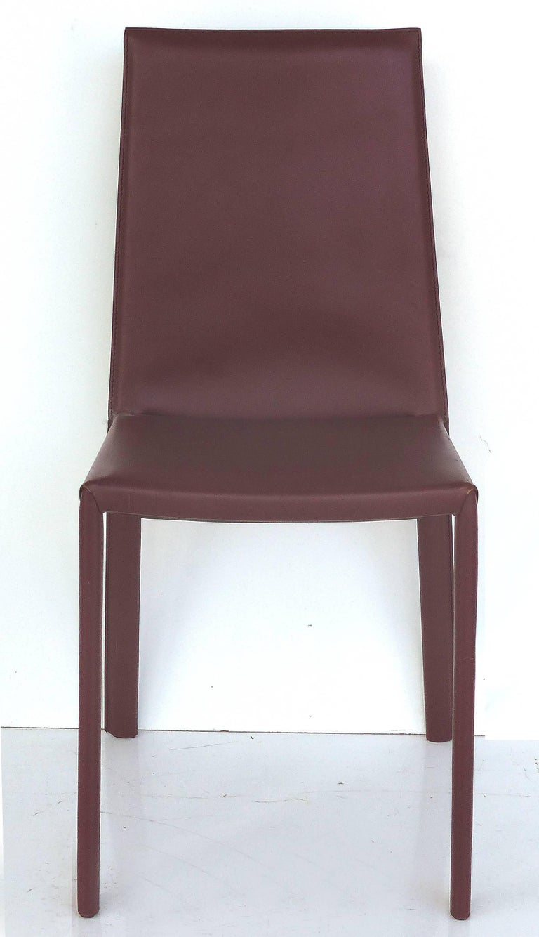 Metal Arrben of Italy Leather Clad High Back Salinas Two Dining Chairs, Set of Six For Sale