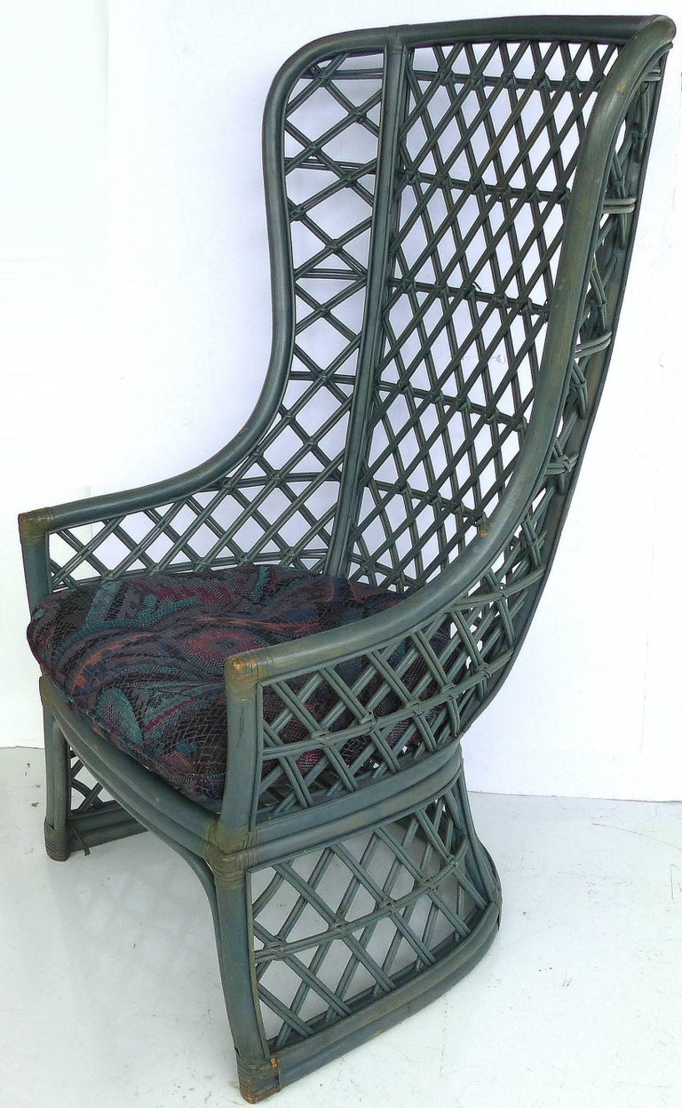 Brown Jordan Vintage High Back Painted Rattan Chairs For