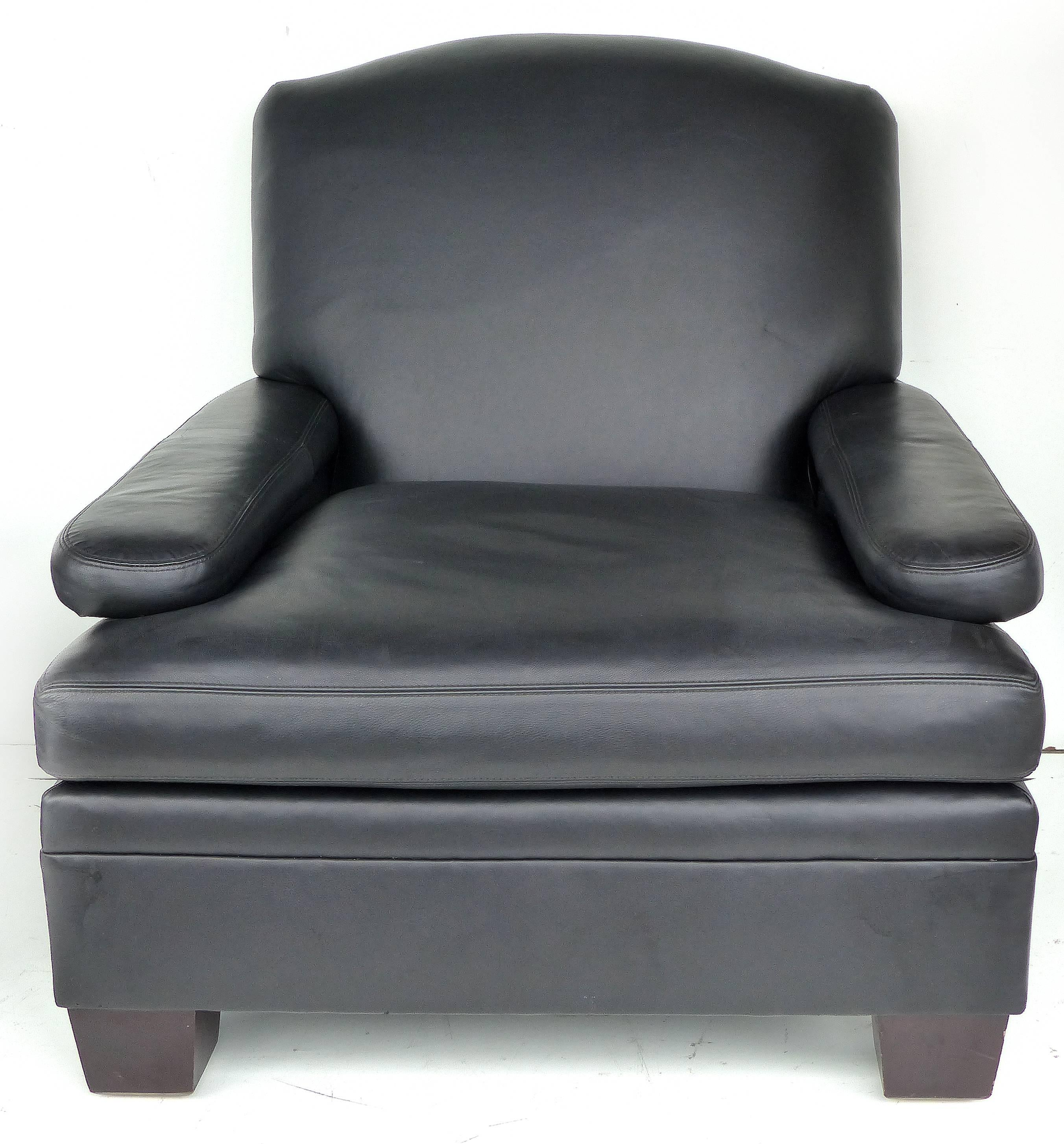 ralph lauren london leather club chairs with matching ottomans pair 2