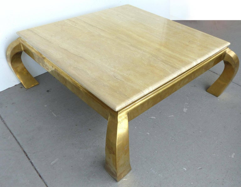 Mid Century Modern Karl Springer Style Br And Travertine Coffee Table In Good Condition For