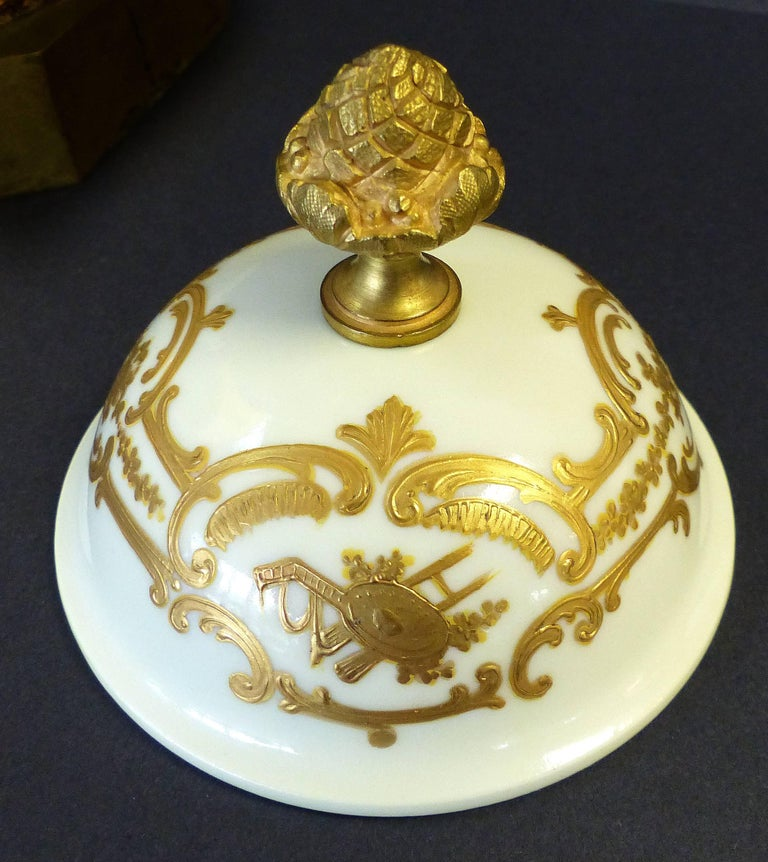 19th Century Hand-Painted Sevres Covered Urn Mounted in Gilt Bronze, Signed For Sale 1