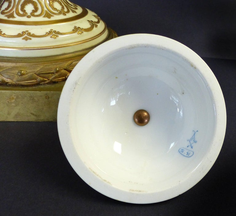 19th Century Hand-Painted Sevres Covered Urn Mounted in Gilt Bronze, Signed For Sale 4