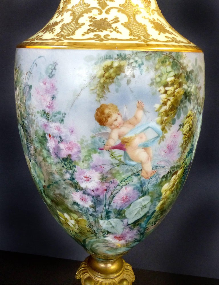 Neoclassical Revival 19th Century Hand-Painted Sevres Covered Urn Mounted in Gilt Bronze, Signed For Sale
