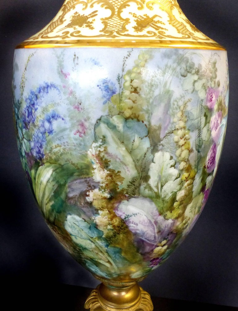 French 19th Century Hand-Painted Sevres Covered Urn Mounted in Gilt Bronze, Signed For Sale