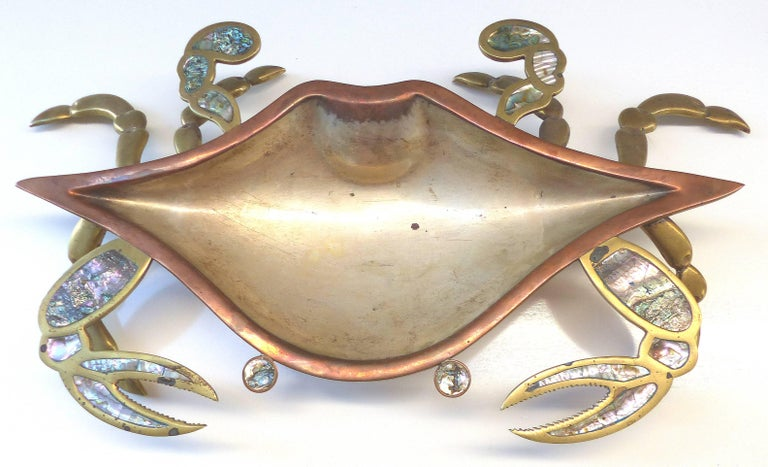 Monumental Los Castillos Style Abalone Metal Crab Bowl with Two Side Dishes  Offered for sale is a rare three piece set of copper and brass crab serving pieces inset with abalone from Tlaquepaque FCS Cobre Mexico. There are two smaller crabs and one
