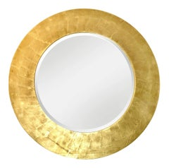 Gold Leaf Wood Bevelled Mirror, style of Karl Springer
