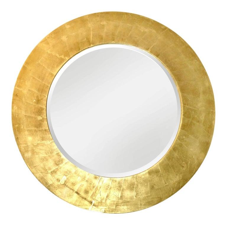 Gold Leaf Wood Bevelled Mirror, style of Karl Springer