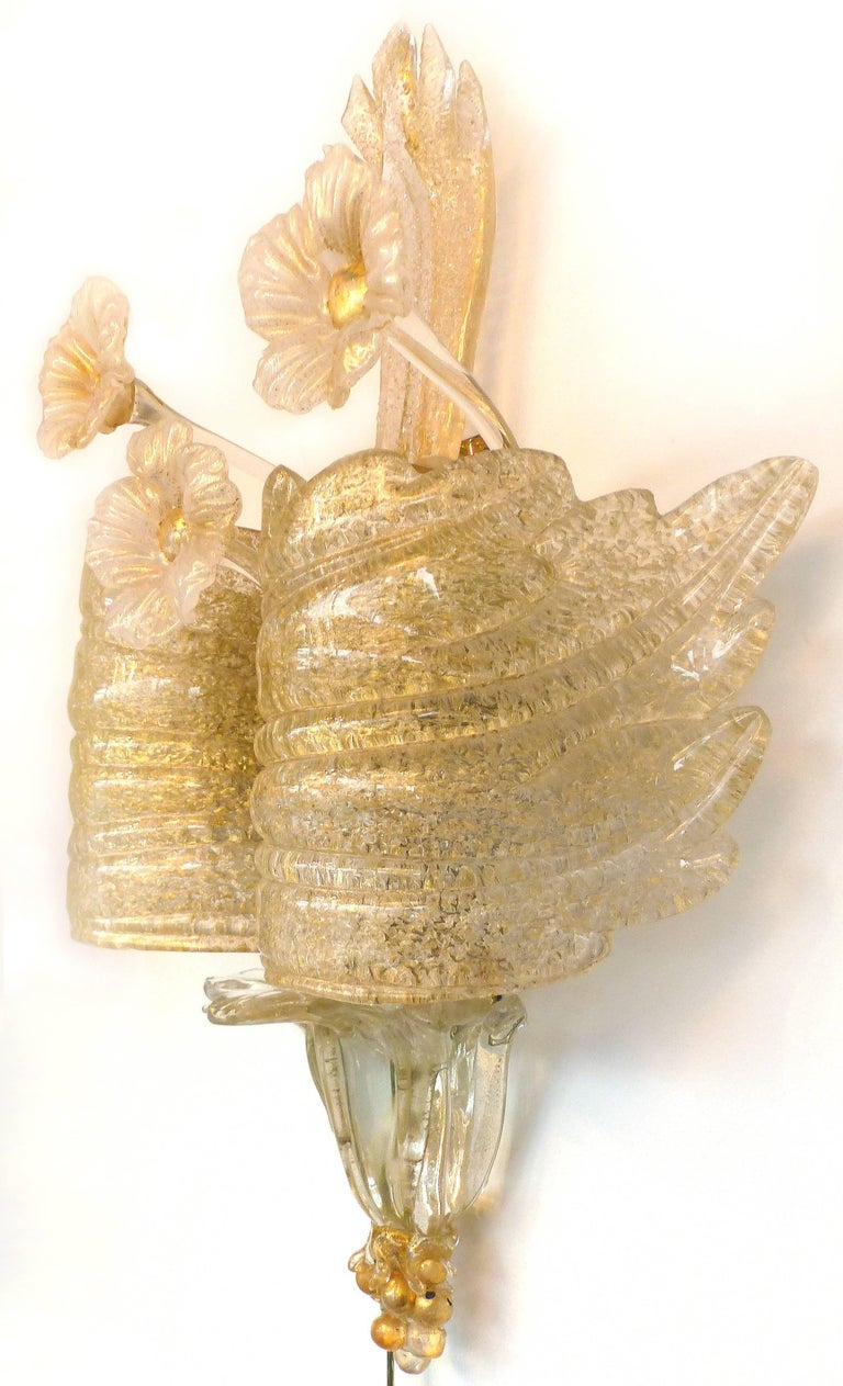 Gold Infused Murano Glass Wall Sconce at 1stdibs