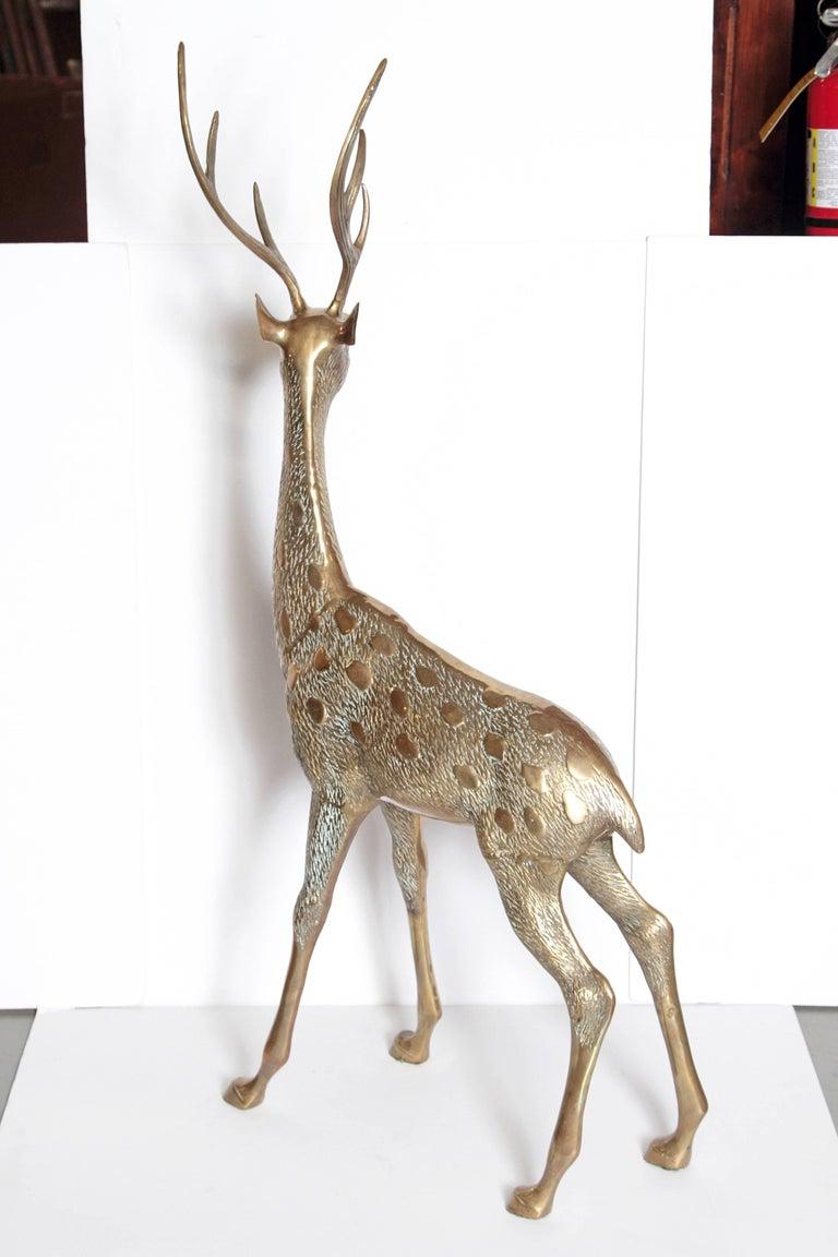 Mid-Century Modern Life-Size Brass Deer Sculpture For Sale