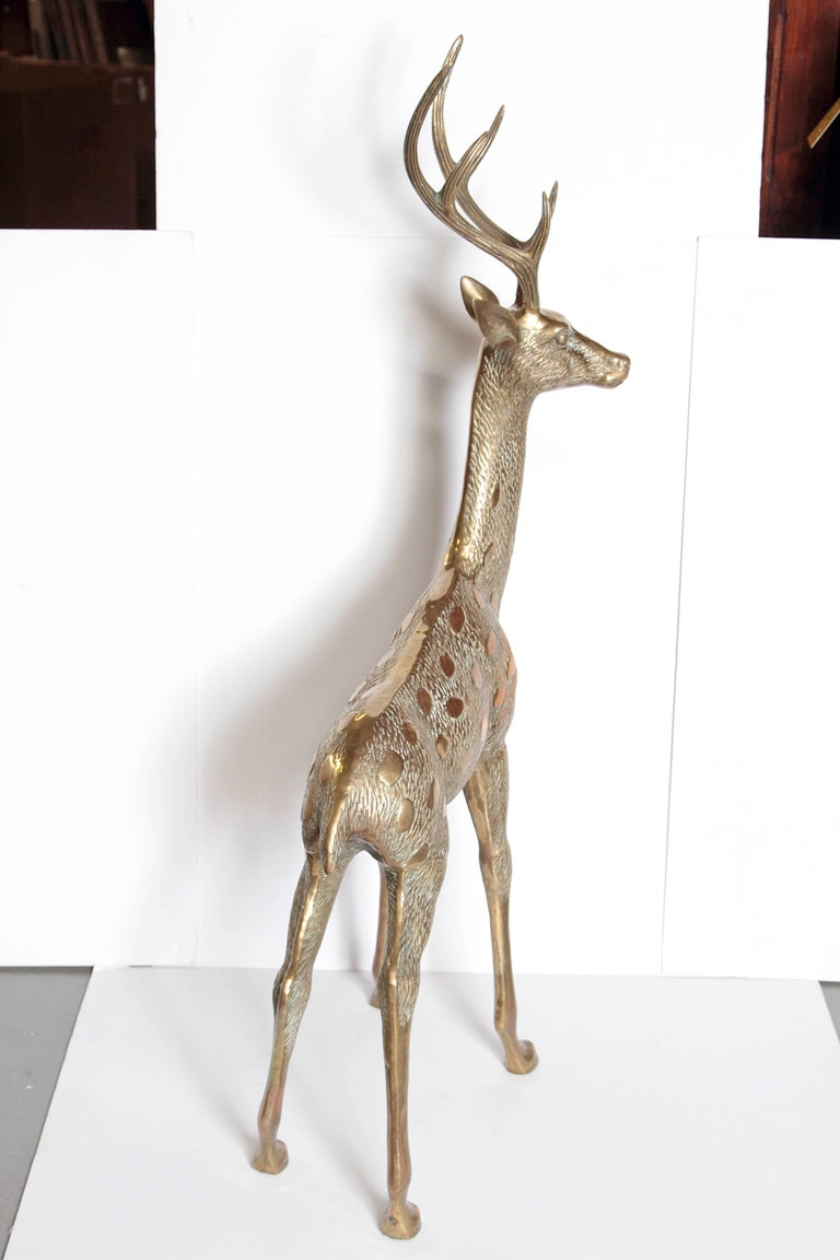 Large Vintage Brass Deer Sculpture In Excellent Condition For Sale In Dallas, TX