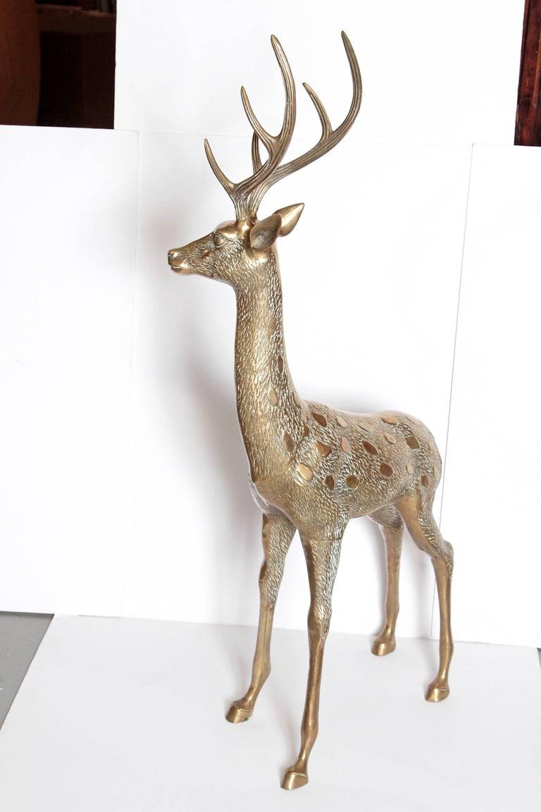 Life-Size Brass Deer Sculpture For Sale 2