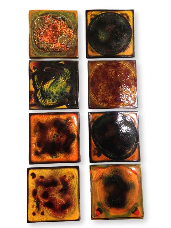 Set of 32 authentic tiffany tiles, circa 1910. This is an amazing set of rare tiles and in an assortment of colors.   Measures: Each tile is 3