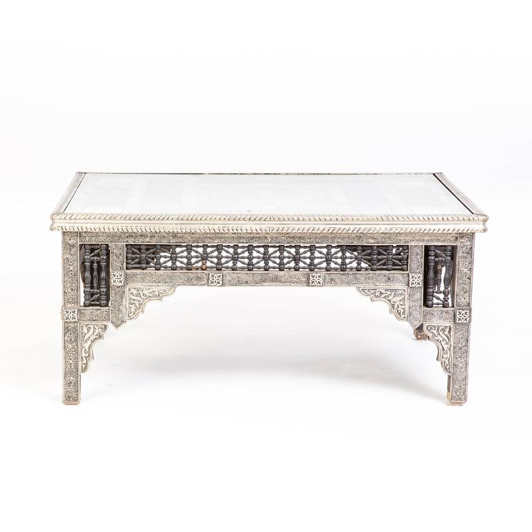Authentic Moroccan Silver Inlaid Table 2
