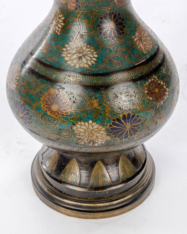 Antique Floral Cloisonne Vase Lamp For Sale At 1stdibs