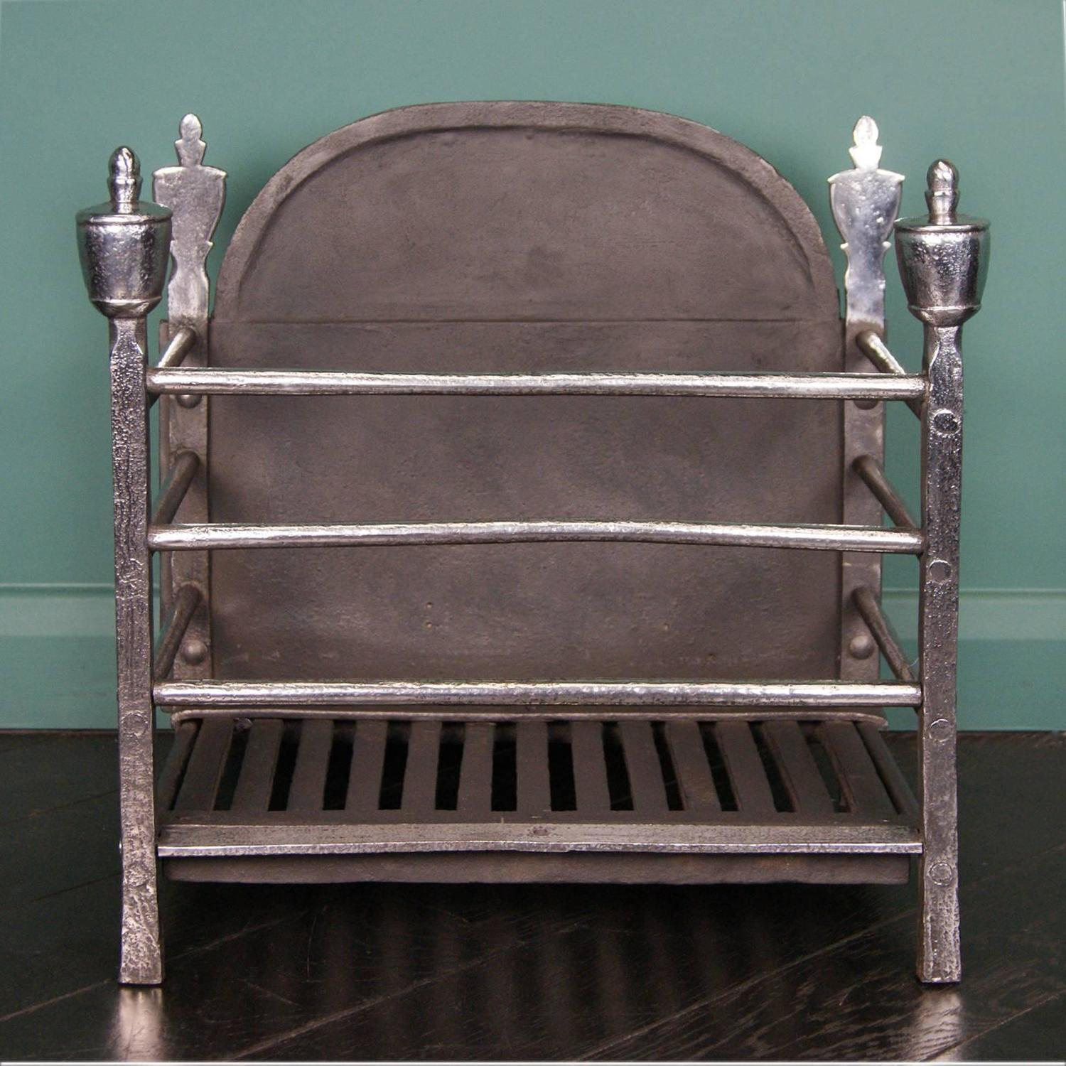 Polished Wrought Railed Fire Basket For Sale At 1stdibs