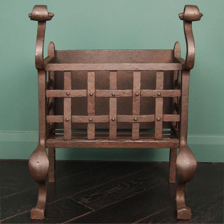 Small Wrought And Cast Iron Fireplace Fire Basket For Sale