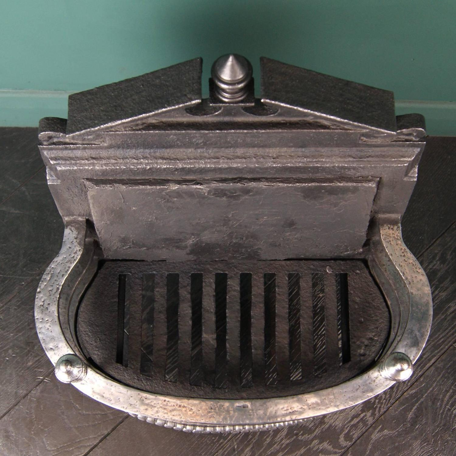 small 19th century wrought and cast fireplace grate
