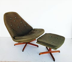 Danish Swivel Lounge Chair MS68 with Ottoman by Madsen & Schübel, 1960s