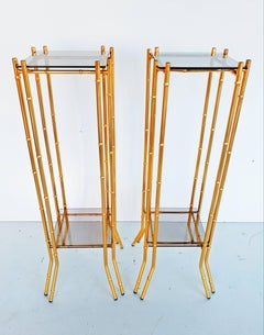 Pair of Faux Bamboo Brass End Tables circa 1960
