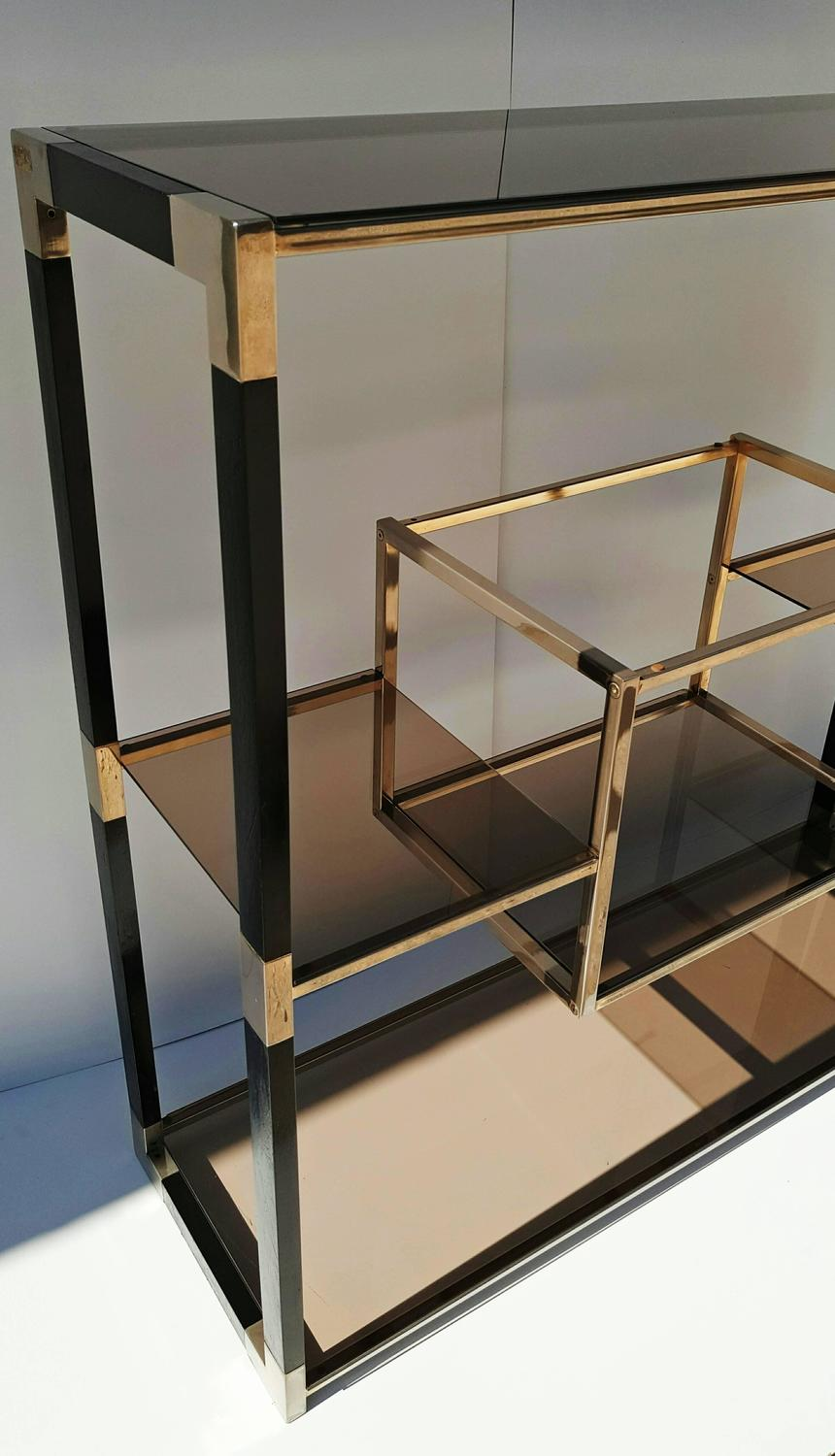 etagere brass and glass room divider by tratys from italy. Black Bedroom Furniture Sets. Home Design Ideas