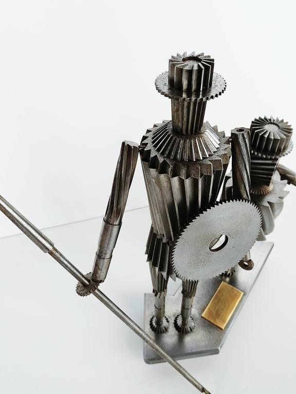 20th Century Don Quixote and Sancho Metal Sculpture Circa 1967  For Sale