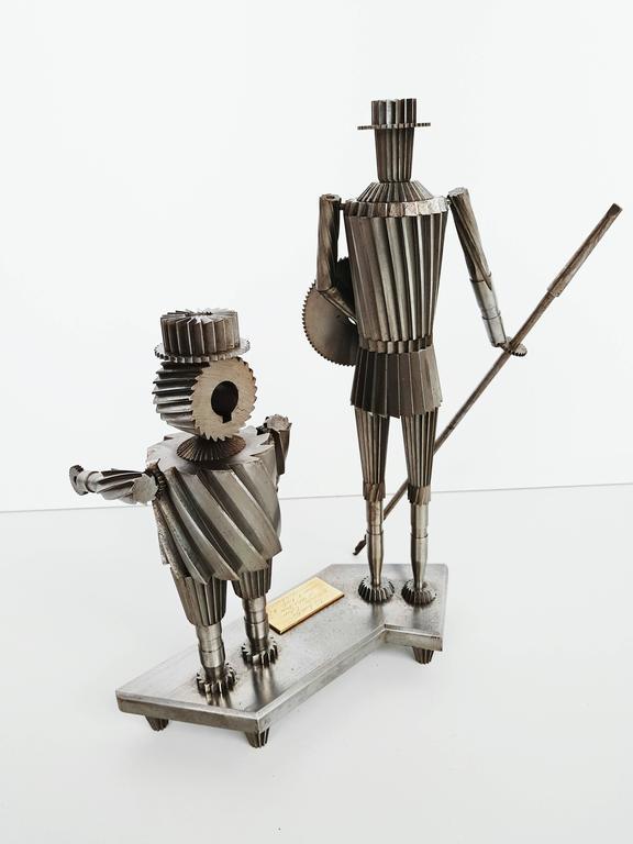 Don Quixote and Sancho Metal Sculpture Circa 1967  For Sale 2