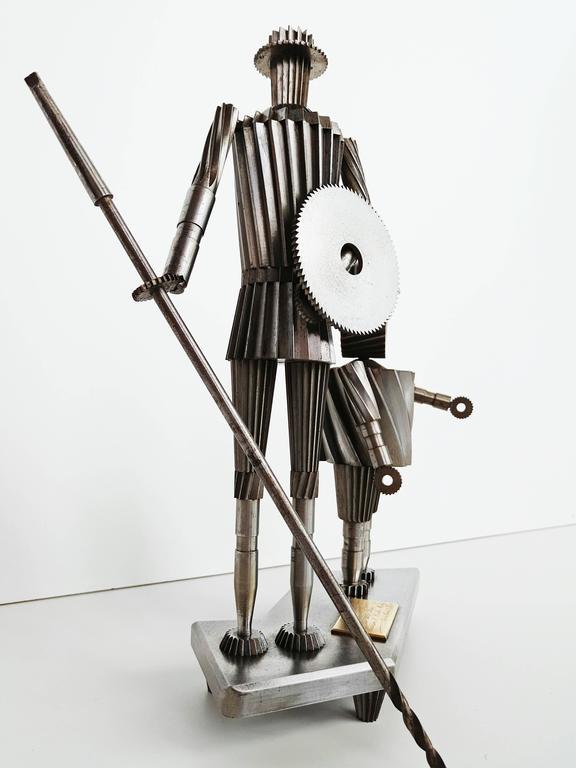 Don Quixote and Sancho Metal Sculpture Circa 1967  For Sale 4