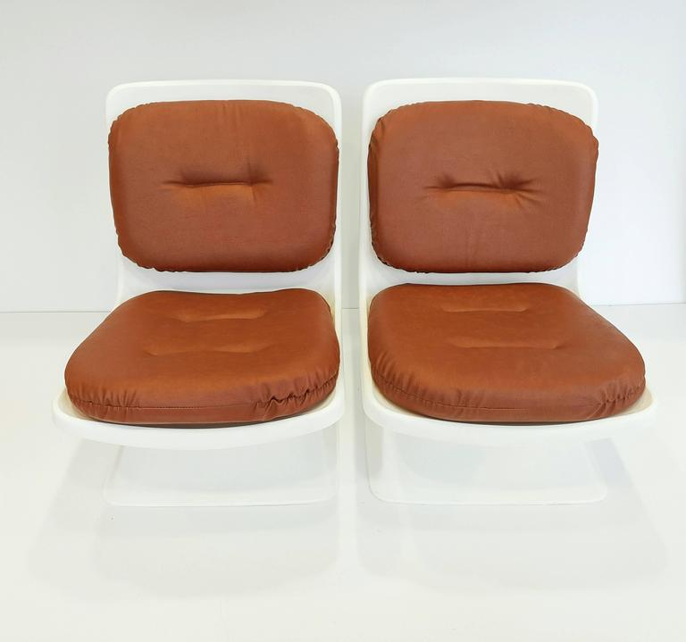 Faux Leather Albert Jacob Armchairs for Grosfillex, 1970s For Sale