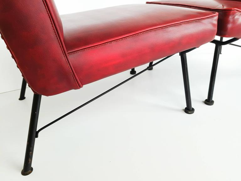 20th Century Pair of French Lounge Chairs, 1950s For Sale