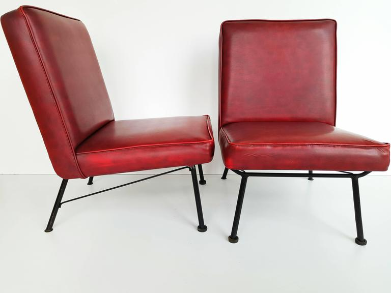 Faux Leather Pair of French Lounge Chairs, 1950s For Sale