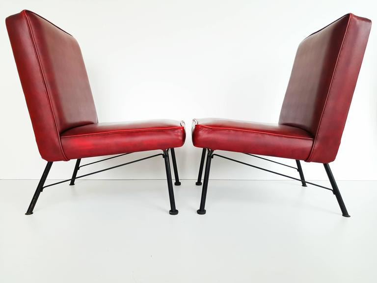 Pair of French Lounge Chairs, 1950s For Sale 4