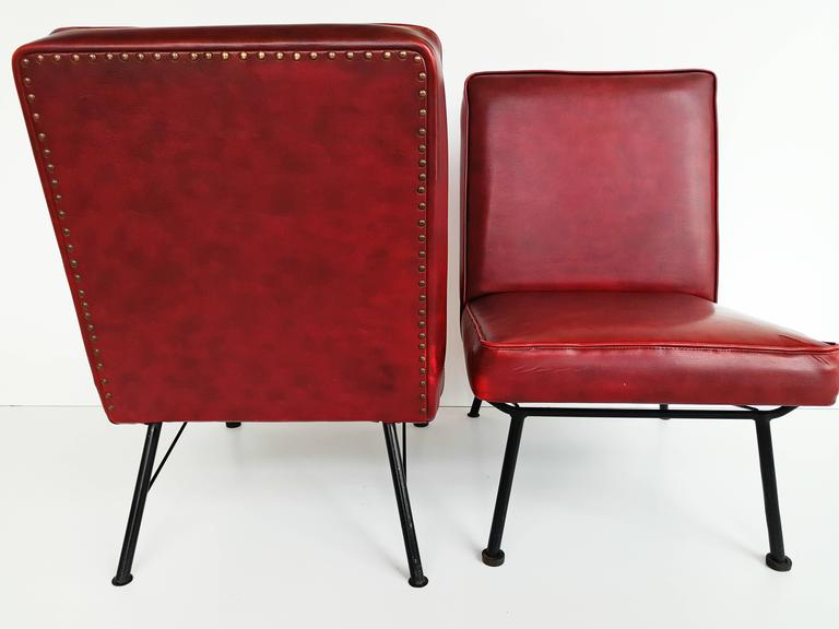Pair of French Lounge Chairs, 1950s For Sale 5