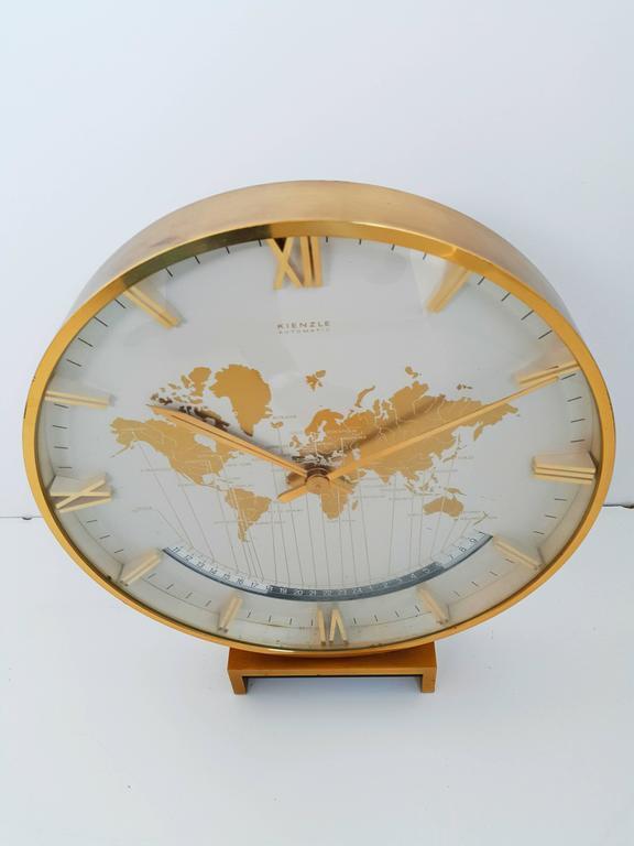 Large Kienzle Automatic Table World Timer Zone Clock, 1960s 4
