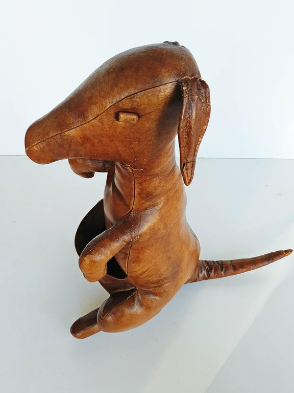 Leather Kangaroo Magazine Stand by Dimitri Omersa for Abercrombie & Fitch, 1960s For Sale 3