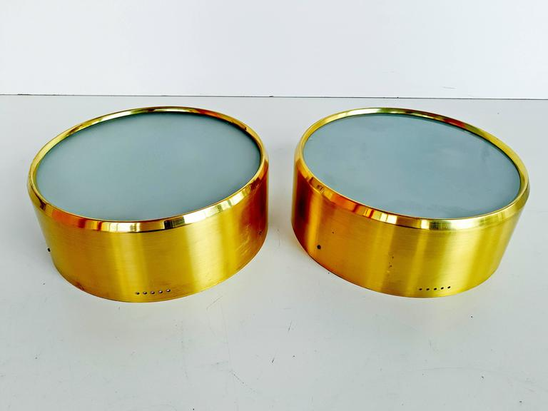Rare Pair of Brass and Glass Ceiling/Wall Lights by Stilnovo, 1960s In Excellent Condition For Sale In L'Escala, ES