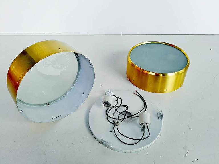 20th Century Rare Pair of Brass and Glass Ceiling/Wall Lights by Stilnovo, 1960s For Sale