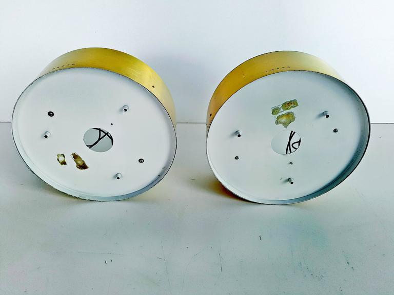 Rare Pair of Brass and Glass Ceiling/Wall Lights by Stilnovo, 1960s For Sale 2
